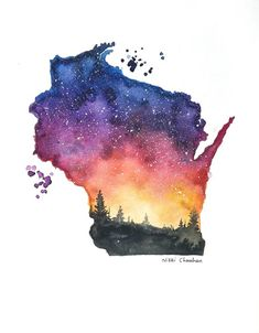 Wisconsin art Map poster Watercolor state art Illustration | Etsy Art And Illustration, Watercolor Illustration, Sunset Silhouette, Silhouette Painting, Watercolor Print, Watercolor Paintings, Watercolors, Wisconsin Tattoos, Map Painting