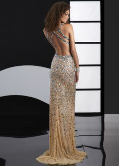 Jasz Couture 4109D - Nude Beaded Low Back Dress - RissyRoos.com