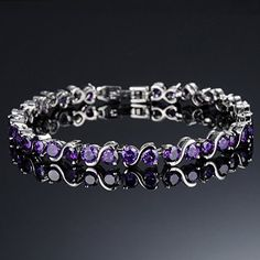 YESJOJO Women Bracelet Copper Platinum and Cubic Purple Zirconia - discount bedding Cheap Bracelets, Bangle Bracelets With Charms, Silver Charm Bracelet, Silver Jewelry, Bangles, Jewellery Uk, Diamond, Purple, Gifts