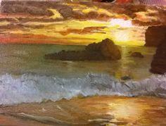 il mare i suoi colori ,le onde i colori del tramonto mi hanno ispirato un senso di libertà irrinunciabile ad olio su tela  18x24cm è anche in vendita eseguibile su richiesta più grande