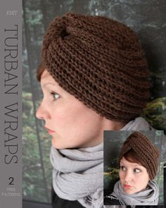 Turban Wrap (free pattern) Plus Crochet Turban, Crochet Adult Hat, Crochet Cap, Knitted Headband, Baby Hats Knitting, Vintage Knitting, Knitting Yarn, Knitted Hats, Baby Turban