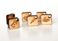 Social Icons Set  collection of 6pcs wooden charms by Schmaser