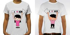 2 Pcs Cute Set of Unique Couples TShirt I Love by Simply2InLove, $35.00 www.simply2inlove.com