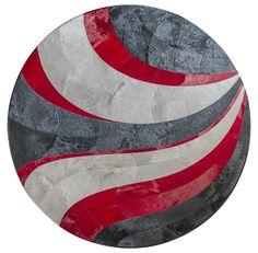 Custom Rug shown in cardinal, charcoal & silver #cowhide #circle #custom