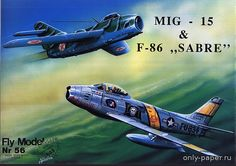 F-86 Sabre & MiG-15 (Fly Model 056), 1:33 paper model, maybe good for RC 1:16 conversion.