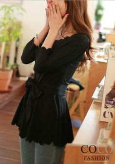 Black Decorative Neckline Long Sleeves Asian Fashion Blouse With A Bow At Waist