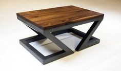 industrial solid walnut steel coffee table one of by MaxiMueller