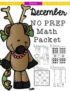******50% OFF for 48 hours!!!*******This December Math NO PREP packet that will keep your fifth graders engaged! This packet is just plain fun. Not only is it PACKED with fifth-grade common core math problems, it also gives students fun coloring, puzzles, and problem solving.