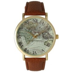 Olivia Pratt Travelers Atlas Leather Watch (33 CAD) ❤ liked on Polyvore featuring jewelry, watches, cognac, genuine leather bracelet, leather band wrist watch, roman numeral bracelet, leather band bracelet and leather bracelet