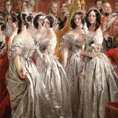 """I love this detail of a much larger painting documenting part of the ceremony of Queen Victoria's coronation. Like so many flowers themselves, these young women were attendants of the also-young new queen. Were they chosen for their brunette likeness to Victoria, I wonder - there's not a blonde woman among them. #Detail, """"Queen Victoria Receiving the Sacrament at her Coronation, 28 June 1838"""" by Charles Robert Leslie, 1838-39, The Royal Collection Trust #portrait #groupportrait…"""