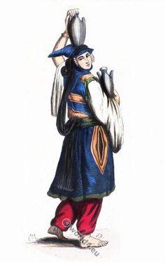 Druse woman. Lebanon traditional costume in 1840.