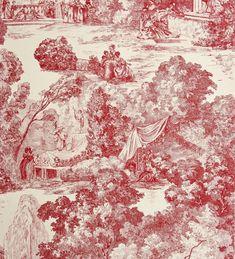 Papel pintado toile de jouy francés escenas de parque rojo - 2009628