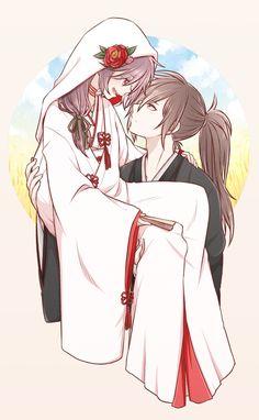 """箜山莘雨 on Twitter: """"结婚!! 白无垢照着网上找的素材画的……不知道有没画对……💦💦 #どろろ #百どろ… """" Anime Demon, Manga Anime, Anime Art, Anime Group, Anime Ships, Anime Couples, Kawaii Anime, Chibi, Fanart"""