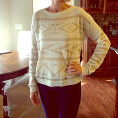 NWT Cream and gold thread tribal sweater NWT Cream and gold thread tribal print sweater Sweaters