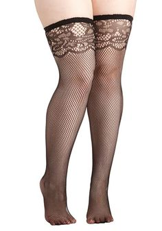Girls' Night All-Out Thigh Highs in Plus Size - Knit, Black, Lace, Girls Night Out, Pinup, Vintage Inspired, Boudoir
