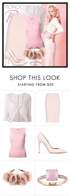 """""""520. Pink"""" by diana97-i ❤ liked on Polyvore featuring Pleats Please by Issey Miyake, Oscar de la Renta, Michael Kors, Gianvito Rossi, Rock 'N Rose, Miadora, monochrome, Pink and monochromepink"""