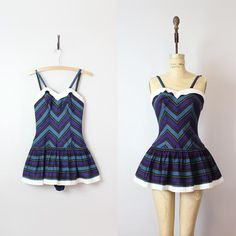 vintage 50s swimsuit / 1950s bathing suit / chevron striped playsuit / skirted swimsuit / dark striped romper / Juniorite swimsuit