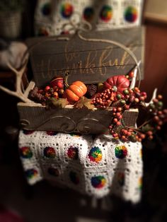 Fall decorating; antlers and pumpkins; be thankful