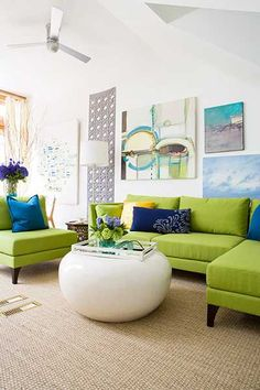 green living room furniture and blue decor accessories