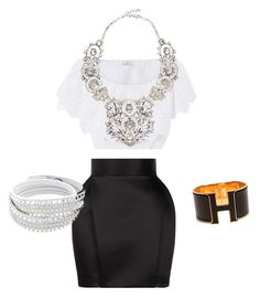 Date night by sehadley on Polyvore featuring polyvore, fashion, style, Miguelina, Balmain, Eye Candy, Hermès and clothing