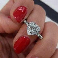 Heart shaped engagement rings - 27 White Gold Engagement Rings To Conquer Your Love – Heart shaped engagement rings Heart Shaped Diamond Ring, Heart Shaped Engagement Rings, Engagement Ring Shapes, Dream Engagement Rings, Alternative Engagement Rings, Halo Diamond Engagement Ring, Engagement Ring Settings, Diamond Rings, Heart Shaped Rings
