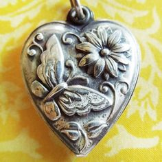 Vintage 1940's BUTTERFLY w/ FLOWERS PUFFY HEART sterling silver charm ~ Vina from A Genuine Find