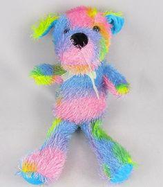 Manley Toy Direct Dog Multicolored Pastel Plush Stuffed Animal Spiky Hair w Bow #ManleyToyDirect