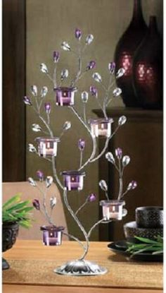 1-JEWEL-TREE-CANDELABRA-Candle-Holder-Two-Feet-Tall-Centerpiece-Accent-Decor-NEW