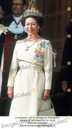 Princess Margaret, at the State Opening of Parliament 1997. Image courtesy of imagecollect