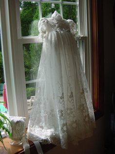 Victoria Christening Gown and Cap. $295.00, via Etsy.