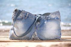 OFFSHORE BAGS  FOREVER DENIM Blue Denim Shoulder Bag Handmade & Hand Dyed LT Resortwear