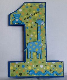 Little boys 1st birthday card (redo colours/embellishments for girl)