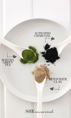 DIY Pore Minimizing Face Mask made from just 3 all-natural ingredients! - activated charcoal, matcha green tea, and bentonite clay.
