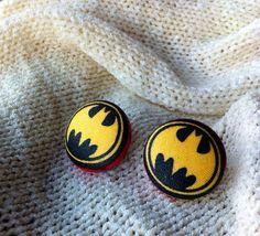 Batman Batgirl Earrings Covered Button Earrings by ButtonsAFluttur, $7.00