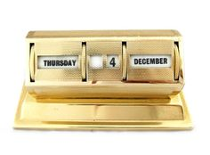 1960s Brass perpetual calendar, offered by Eclectic Antiques & Contemporary at Alfies Antique Market.