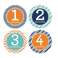 Monthly Baby Stickers Boy Chevron Polka Dots 1-12 Months Milestone Baby Shower Gift Bonus Sheet Included * Read more at the image link. (This is an affiliate link) #BabyKeepsakeProducts