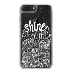 SHINE BRIGHT LIKE DIAMOND (WHITE TEXT) - iPhone 7 Plus Liquid Glitter... ($45) ❤ liked on Polyvore featuring accessories, tech accessories, iphone case, iphone hard case, iphone cover case, transparent smartphone, iphone cases and white iphone case