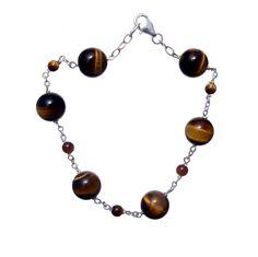 Tiger Eye Brown Round, 925 Sterling Silver Bracelet- Handmade - Natural Stones - Jewelry - FREE SHIPPING de ArtGemStones en Etsy