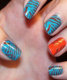 Zebra Print Nails Design, zebra-stripe nails for girls #zebra #nails #christmas www.loveitsomuch.com