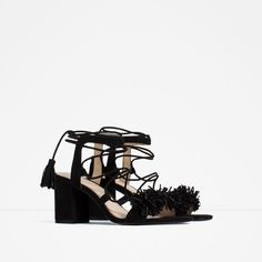 Image 2 of HIGH HEEL LEATHER LACE-UP SANDALS from Zara