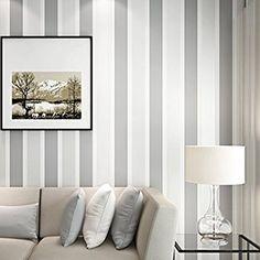 Auralum® 10m Elegante 3D Papel Pintado a Rayas Decorativo del No-tejido Papel Pintado de Pared TV Telón de Fondo/ Dormitorio/ Cocina/Hotel/Restaurante, Color gris