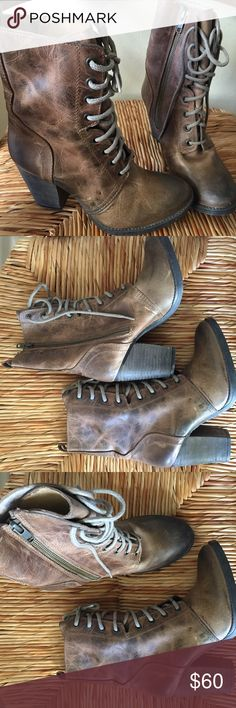 Steve madden Jupiter heel boots These boots originally had the rustic look but as seen boots soles are very gently used Steve Madden Shoes
