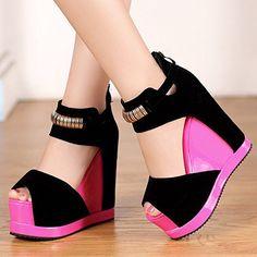 Seude Wedge Platform Metal Ring Zipped High Heel Sandals