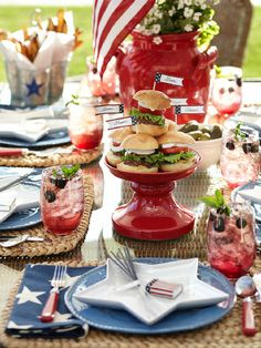 Stars and stripes tablescape. #potterybarn
