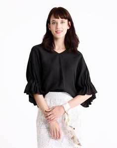 #VIPme Black Batwing Sleeve Jacquard Chiffon Blouse ❤️ Get more outfit ideas and style inspiration from fashion designers at VIPme.com.