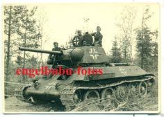"""FOTO - BEUTE-PANZER - Russischer """"T-34"""" mit BALKENKREUZ - Beute-Panzer Einheit-2…"""