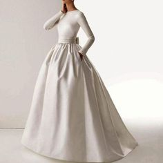 Cheap gown scarf, Buy Quality dress up gown directly from China dress wedding gown Suppliers: Long 2016 Vintage Wedding Dresses O Neck Long Sleeve Sash Bow Pockets Vestidos De Noiva White Satin Muslim Bride Bridal Gowns Wedding Dress Rose, Wedding Dress Sleeves, Princess Wedding Dresses, Modest Wedding Dresses, Cheap Wedding Dress, Trendy Dresses, Bridal Dresses, Gown Wedding, Boat Neck Wedding Dress
