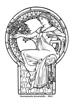 images art nouveau line drawings - Google Search
