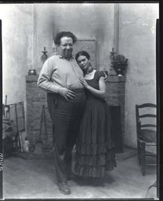 Diego Rivera and Frida Kahlo, San Francisco, California   c.1930  by Peter A. Juley