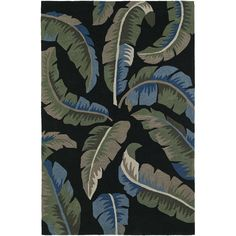 Addison Nassau Banana Leaf Night/Multi Plush Area Rug